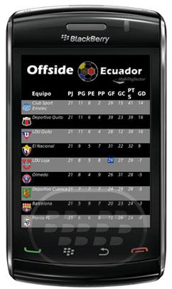 Offside Ecuador es una aplicación que permite realizar un seguimiento de las posiciones actuales y futuros partidos de la liga de fútbol ecuatoriano Compatibilidad BlackBerry OS 5.0 o Superior BlackBerry 85xx, 89xx, 9000, 91xx, 93xx, 95xx, 96xx, 97xx, 9800, 99xx Descarga APPWORLD Fuente:blackberrygratuito