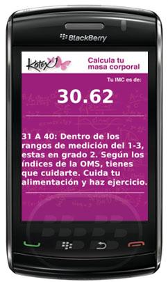 Calcule su índice de masa corporal con esta sencilla aplicación. El índice de masa corporal (IMC) es una medida de asociación entre el peso y la talla de un individuo. por lo que también se conoce como índice de Quetelet Compatibilidad BlackBerry OS 5.0 o Superior BlackBerry 85xx, 89xx, 9000, 91xx, 93xx, 95xx, 96xx, 97xx, 99xx Descarga APPWORLD Fuente:Blackberrygratuito