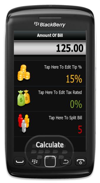 Aplicación está diseñada para la pantalla táctil BlackBerry ® Torch ™ (9810, 9850, 9860)! Esta aplicación puede calcular propina y total por un grupo de dos maneras diferentes: 1 – Dividir un cheque por igual: Introduzca el número de personas en su grupo y elegir un porcentaje de la propina. La aplicación calcula la cantidad total de la propina, el total a pagar luego dividir la cuenta en partes iguales al número de personas en su grupo. 2 – Dividir un control desigual: A menudo la gente prefiere pagar exactamente lo que han pedido, y aquí es donde la aplicación