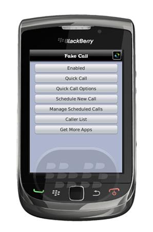Fake Call es una aplicación única que le permite programar llamadas falsas en tu BlackBerry ®! Si usted está atascado en otra reunión y no tienen opciones, o si su amigo está hablando al oído con otra historia aburrida, o si simplemente quieres impresionar a tus amigos por una llamada de su actor favorito o actriz esta es una aplicación divertida para usted! Llamadas falsas pueden ser programadas con antelación. Una opción rápida Fake Call también está disponible para simular una llamada de inmediato. Puede crear una llamada falsa de cualquier persona que desee, y el teléfono se enciende con