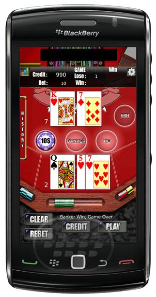 El objetivo del juego de casino Baccarat es apostar a la mano que usted cree que será el más cercano a un total de nueve. Usted puede apostar a uno y otro lado del jugador, el lado de la Ribera o en un empate. BlackBerry 9850/9860 OS 7.0 Descarga APPWORLD Fuente:blackberrygratuito