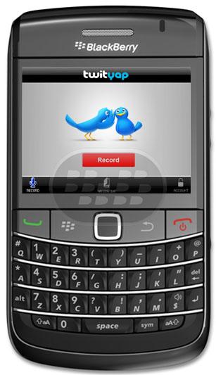 TwitYap es la forma más personal para compartir lo que está en tu mente. Sólo hay que levantar el teléfono y dejar un mensaje de voz que te conecta instantáneamente a tus fans, amigos y seguidores a través de Twitter y Facebook. Estos mensajes de voz se llama Yaps. Yaps pueden ser tan largos o cortos como desee y le permitirá expresar cómo se siente la emoción real. Compatibilidad BlackBerry OS 4.5 o Superior BlackBerry: 8700, 8700c, 8700f, 8700g, 8700r, 8700v, 8703e, 8705g, 8707g, 8707h, 8707v, 8800, 8820, 8830, Bold 9650, Bold 9700, Bold 9780, Curve 8300, Curve 8310, Curve