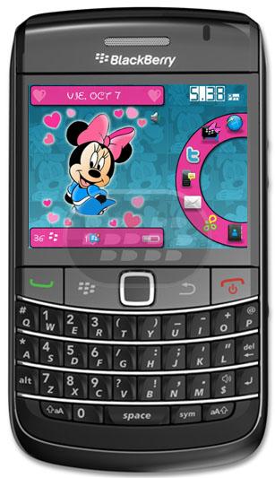 Minnie Mouse es un personaje de dibujos animados, de los estudios Walt Disney Pictures. 7 Iconos en la parte derecha dento de un circulo rosado. Descarga OTA  (8900, 9630, 9650, 9700 OS 5.0 ) Descarga OTA (8520, 8530, 9300, 9330 OS 5.0) tema gratuito gracias a @nanybb_ Fuente:blackberrygratuito