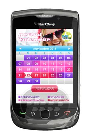 Earn Calendario período es una herramienta que ayuda a comprender mejor su cuerpo y su periodo. Usted nos dice cuando te viene la regla y si es posible nos pondremos en calcular la fecha de próximo período. Con esta aplicación podrás ver el calendario del período, en cualquier momento y en cualquier lugar, y recibir alertas en tu móvil. Paises Admitidos: España y Portugal Compatibilidad BlackBerry OS 5.0 o Superior BlackBerry 85xx, 89xx, 9000, 91xx, 93xx, 95xx, 96xx, 97xx, 98xx, 99xx Descarga APPWORLD Fuente:blackberrygratuito