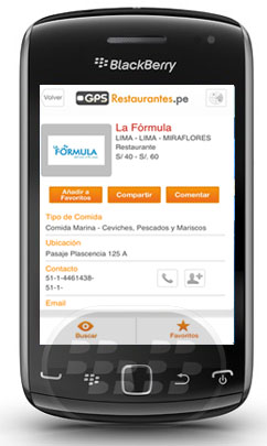 GPS Restaurantes Móvil: es una que le permite encontrar los mejores restaurantes y bares en el Perú. Usted puede buscar por tipo de comida, la ubicación y el precio. Es imposible no encontrar su lugar de preferencia con nuestro servicio de mapas, le damos la ubicación exacta del lugar que usted elija. También comparte tus lugares favoritos a través de Facebook y Twitter con tus amigos. Compatibilidad BlackBerry OS 4.5 o Superior BlackBerry 81xx, 82xx, 83xx, 85xx, 89xx, 9000, 91xx, 92xx, 93xx, 95xx, 96xx, 97xx, 99xx Descarga APPWORLD Fuente:blackberrygratuito
