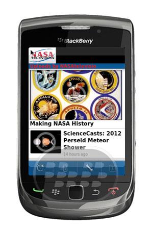 NASA TV: es una aplicación de television canal de YouTube que ofrece vídeos de material en vivo o grabada, una vez lidiar con el funcionamiento de la Administración Nacional de Aeronáutica y del Espacio. Compatibilidad BlackBerry OS 5.0 o Superior BlackBerry 85xx, 89xx, 9000, 91xx, 92xx, 93xx, 95xx, 96xx, 97xx, 9800, 99xx y PlayBook Descarga APPWORLD Fuente:blackberrygratuito