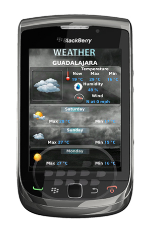 Weather app aplicaci n del clima para blackberry gratuito for Aplicacion del clima
