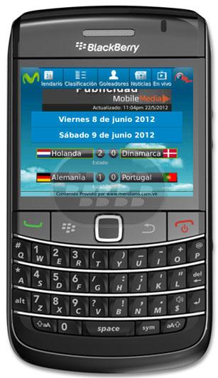 Euro Futbol Movistar: es una aplicación de Movistar Venezuela en la cual usted podrá estar informado sobre lo que está pasando en el torneo de la Eurocopa. Siga la acción minuto a minuto, las calificaciones, calendario, accesorios, noticias, alertas, ver los partidos en vivo a través de la la señal de Meridiano TV y compartirlo a través de sus redes sociales. Compatibilidad BlackBery OS 5.0 o Superior BlackBerry 85xx, 8900, 9000, 91xx, 93xx, 95xx, 96xx, 97xx, 98xx, 99xx Descarga APPWORLD Fuente:blackberrygratuito