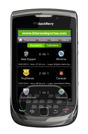 FutVe Líder: es una aplicación de fútbol venezolano móvil de Líder en Deportes, la Cadena Capriles. Contiene la información más reciente de todos los días de fútbol nacional: calendario de juegos, resultados, clasificaciones y galería de fotos. Características: * Fechas, Posiciones, Resultados, Galeria, Noticias, Videos, Y mucho más … Compatibilidad BlackBerry OS 5.0 o Superior BlackBerry 85xx, 89xx, 9000, 91xx, 92xx, 93xx, 95xx, 96xx, 97xx, 98xx, 99xx y PlayBook Descarga APPWORLD Fuente:blackberrygratuito