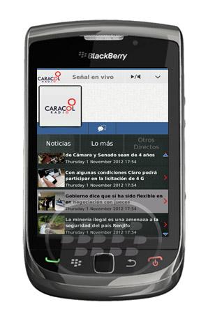 Escucha Radio Caracol sin interrupciones. Audio en directo en español con las últimas noticias en Colombia. Compartir en las redes sociales. Todo en el nueva aplicación Radio Caracol. Compatibilidad BlackBerry OS 5.0 o Superior BlackBerry 85xx, 89xx, 9000, 9220, 93xx, 95xx, 96xx, 97xx, 98xx, 99xx Descarga APPWORLD Fuente:blackberrygratuito