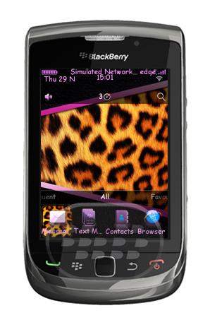 Este es un tema de leopardo, acompañado con un fondo de pantalla de piel de leopardo e iconos morados. Características: * Medidor de batería personalizada* Medidor de señal personalizada* Los iconos personalizados Establecer* Hermosos fondos con Lovely leopardo* Fuente hermosa que adecuado para el tema Nota: Las pantallas de llamada no están personalizados para los dispositivos OS7. Compatibilidad BlackBerry OS 5.0 o Superior BlackBerry 85xx, 89xx, 9000, 91xx, 9220, 93xx, 95xx, 96xx, 97xx, 98xx, 99xx Descarga APPWORLD Fuente:blackberrygratuito