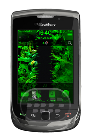 Características: – iconos modificados color verde brillante OS 7– 6 Panel en pantalla de inicio, 3 en la izquierda y 3 a la derecha– Icono de Enfoque con movimiento– Medidor de Señal personalizada y de nivel de batería– Font personalizada– Fotos de monstruo en pantalla de inicio, aplicaciones, llamada entrante, Llamada activa, y antecedentes Lockscreen– Transiciones suaves– amistoso con wallpapers Compatibilidad BlackBerry OS 4.6 o Superior BlackBerry 8350i, 85xx, 89xx, 9000, 9220, 93xx, 95xx, 9630, 9650, 97xx, 9800 Descarga APPWORLD Fuente:blackberrygratuito