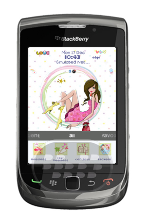 Este es tema para chicas, con bonitos iconos del tipo caricaturas, que le brindarán una bonita apariencia a su dispositivo BlackBerry. posee un tipo de fuente acorde al tema y un bonito fondo de pantalla con tonalidades de colores claros. Compatibilidad BlackBerry OS 5.0 / 6.0 BlackBerry 8350i, 8520, 8530, 8900, 9000, 9300, 9330, 9630, 9650, 9700, 9780, 9800 Descarga APPWORLD Fuente:blackberrygratuito