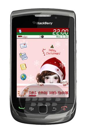 Hello Christmas: es un tema de navidad especial para chicas, con 4 iconos principales en la parte izquierda, y 4 iconos textuales en la parte inferior de la pantalla de inicio, con un fondo de pantalla rosado que le dará un aspecto muy femenino a tu dispositivo. Descarga OTA (9800)Descarga OTA (8520, 8530, 9300, 9330, OS 5.0 )Descarga OTA (9300, 9330 OS 6.0)Descarga OTA (9650, 9700, 9780 os 6.0) Fuente:blackberrygratuito