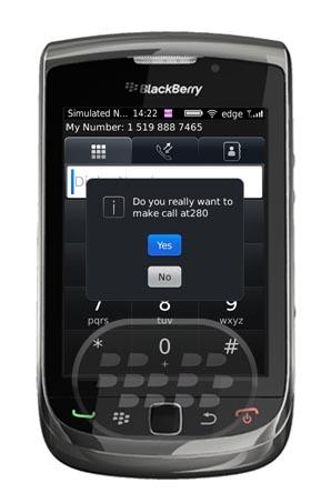 Esta es una aplicación sencilla pero muy útil, le ayuda a controlar las llamadas accidentales, más si se trata de un dispositivo tactil, le aparecerá un mensaje de confirmación si realmente usted desea efectuar la llamada. Compatibilidad BlackBerry OS 5.0 o Superior BlackBerry 85xx, 89xx, 9000, 91xx, 9220, 93xx, 95xx, 96xx, 97xx, 98xx, 99xx Descarga APPWORLD Fuente:blackberrygratuito