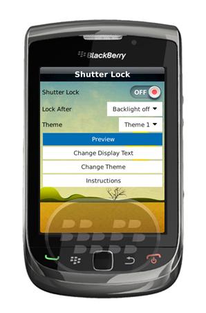 Shutter Lock es una aplicación de bloqueo hermoso para su BlackBerry. Se basan en un concepto único, en primer lugar es unico en su clase y lo hemos mantenido totalmente gratis para usted. La aplicación viene con 16 temas libre para su Selección, además que le permite modificar el texto, tamaño y tipo de letra. Compatibilidad BlackBerry OS 5.0 o Superior BlackBerry 85xx, 89xx, 9000, 91xx, 9220, 93xx, 95xx, 96xx, 97xx, 98xx, 99xx Descarga APPWORLD Fuente:blackberrygratuito