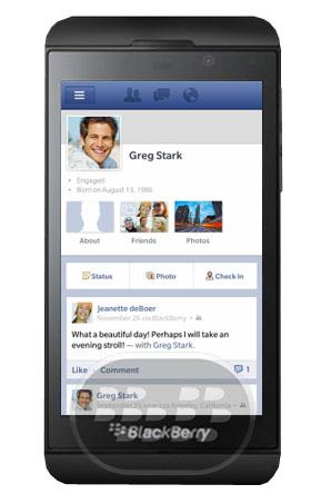 Facebook con chat para blackberry z10