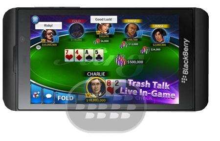 Disfrute de la nueva experiencia de póquer ahora en el BlackBerry 10 y PlayBook! Características del juego: Únete a millones de jugadores en la mayor comunidad de poker en línea de BlackBerry Disfrute de una experiencia fuerte, rápido jugador de ritmo y 6 inmersiva mesa Recibe fichas gratis cada día para mantener la diversión fluye! Elija su cara de póker de una rica selección de avatares Papelera amigos o enemigos hablan en la mesa con el chat en vivo! Más características muy pronto. ¡Estén pendientes! Compatibilidad BlackBerry OS 10 o Superior Descarga BlackBerry World Fuente:blackberrygratuito