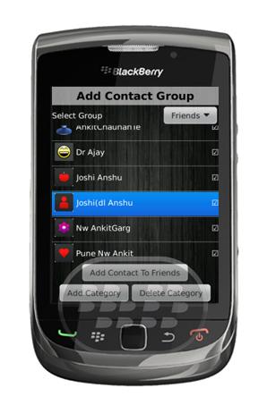 Una aplicación que le permite manejar su grupo de contactos y asi poder enviar mensajes de texto grupales asi como mensajes PIN y mensajes de correo electrónico a un determinado grupo o categoría. con la ayuda o esta aplicación se puede copiar o mover contactos de un grupo a otro grupo. Pasos:1. Inicie la aplicación y seleccione una categoría del menú desplegable para ver la lista de contactos de ese grupo. (Si no existe categoría, entonces hay un botón para añadir la categoría. Después de añadir la categoría hay un botón para agregar un contacto de su lista de contactos.).Esta