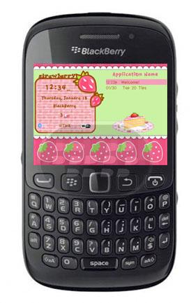 Este es un bonito tema para chicas, se caracteriza por su estilo femenino predominando el color rosado, con iconos personalizados de fresas combinados con los iconos del sistema. Compatibilidad BlackBerry OS 5.0 o Superior BlackBerry 8520, 8530, 9300, 9500, 9520, 9530, 9550, 9630,9650, 9700, 9800 Descarga BlackBerry World Fuente:blackberrygratuito