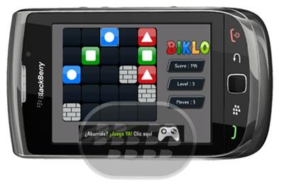 Biklo es un adictivo juego de lógica donde usted tiene que reunir los bloques iguales para completar rompecabezas. La idea de reunir a un par de bloques de colores a juego es simple pero, avanzando poco a poco en el uso del juego se encuentra con las barreras estratégicas sólidas que empujan al usuario a pensar en el fin de roer, este juego pone a prueba las técnicas estratégicas y analíticas utilizadas por el jugador. Compatibilidad BlackBerry OS 5.0 o Superior BlackBerry 85xx, 89xx, 9000, 9220, 93xx, 96xx, 97xx, 98xx, 99xx Descarga BlackBerry World Fuente:blackberrygratuito