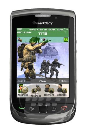 Un soldado es el que lucha como parte de una organización con base en tierra la fuerza armada, expresar su misión en este tema gratuito. El tema posee iconos de soldados personalizados, un fondo de pantalla animado de soldados en combate. Compatibilidad BlackBerry OS 5.0 o Superior BlackBerry 85xx, 89xx, 9000, 91xx, 9220, 93xx, 95xx, 96xx, 97xx, 98xx, 99xx Descarga BlackBerry World Fuente:blackberrygratuito