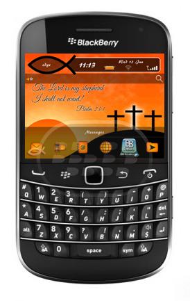 Este es un tema religioso muy bonito, con un fondo de pantalla de atardecer y cruces en la montañas, es amistoso con wallpapers por lo que usted puede cambiarlo, el medidor de batería, señal, el reproductor de fondo, los botones, el fondo de carpeta, la brujula son personalizados. Compatibilidad BlackBerry OS 5.0 o Superior BlackBerry 85xx, 89xx, 9000, 9220. 93xx, 96xx, 97xx, 98xx, 99xx Descarga BlackBerry World Fuente:blackberrygratuito