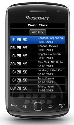 World Clock : es una herramienta útil para los viajeros que consultan las diferentes zonas horarias, esta aplicación le muestra la fecha y hora actuales de lugares de todo el mundo! y es gratuito. Características:: * Mostrar la hora en la ubicación actual y de cualquier lugar del mundo* Conoce más de 20.000 ciudades en todas las zonas horarias del mundo!* Número ilimitado de widgets que muestran diferentes zonas horarias* Estilos de reloj digital* En gran medida configurable* Interfaz de usuario sencilla e intuitiva* MUY eficiente de la energía Compatibilidad BlackBerry OS 5.0 – 7.1 BlackBerry 85xx, 89xx, 91xx, 9220,