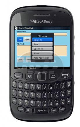Finco WordPad es un editor de texto para móviles para BlackBerry. Características: – Se puede abrir la representación de texto de todos los archivos.– Cuenta la cantidad de palabras en un archivo.– Cuenta la cantidad de caracteres en un archivo.– Puede guardar el archivo en la tarjeta SD, así que se puede ver en un ordenador.– Tiene mecanismo muy inteligente que sabe el lugar adecuado para guardar el archivo, esta experiencia de usuario en general mejora. Nota: Es necesario una una tarjeta microSD para poder guardarlos archivos. Compatibilidad BlackBerry OS 5.0 – 7.1 BlackBerry 85xx, 89xx, 220, 93xx, 96xx, 97xx,
