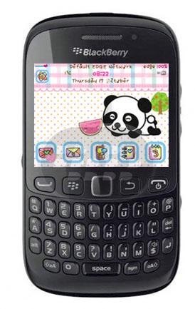 Este es un bonito tema para chicas, posee fondo de pantalla panda bebé, el medidor de batería y señal son personalizados al igual que los iconos, es amistoso con los fondos de pantalla. El tamaño de archivo es reducido para menor consumo de memoria. Compatibilidad BlackBerry OS 5.0 – 7.1 BlackBerry 85xx, 89xx, 91xx, 9220, 93xx, 96xx, 97xx, 98xx, 99xx Descarga BlackBerry World Fuente:blackberrygratuito