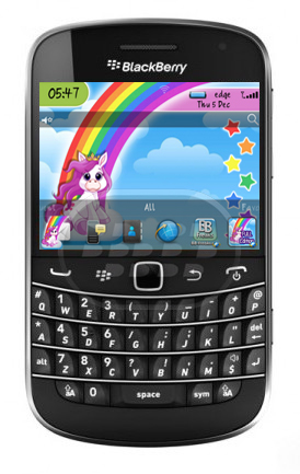 Este bonito tema de unicornio es gracias a BBFreaks, en esta versión gratuita usted no podrá el fondo de pantalla, algunos iconos son personalizados, asi como la pantalla de inicio, utiliza SVG. Compatibilidad BlackBerry OS 5.0 – 7.1 BlackBerry 85xx, 9220, 93xx, 96xx, 97xx, 98xx, 99xx Descarga BlackBerry World Fuente:blackberrygratuito