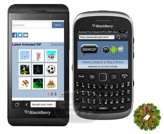 Tenga acceso a una galería de GIFs animados de buena calidad para BBM en las diferentes categorías, descargue los GIFs inviduales de su preferencia, cambie el Avatar de su perfil de BBM por uno animado. Este sitio web esta optimizado para dispositivos móviles BlackBerry OS 5.0 – 7.1, BlackBerry 10, iPhone, iPad y Android. Para obtener la lista completa de Gifs animados de Navidad para BBM Click Aquí http://www.bbmgif.com/es/category/christmas.php Fuente:blackberrygratuito