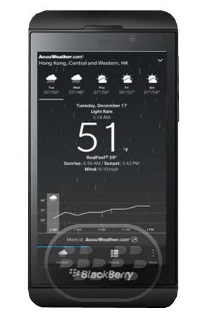 Esta aplicación le proporciona información meteorológica confiable para su ubicación y ciudades de todo el mundo. El tiempo se puede ver rápidamente en 5-días de previsión, las condiciones actuales, la salida del sol y puesta del sol, velocidad del viento, y las previsiones por hora. Compatibilidad BlackBerry OS 10 o Superior (Q5, Q10, Z10, Z30) Descarga BlackBerry World Fuente:blackberrygratuito