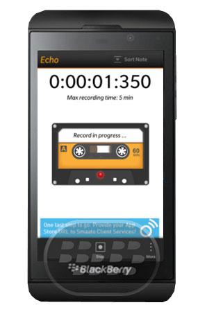 Echo es una aplicación en BlackBerry 10 para grabaciones de voz, le permite grabar, reproducir y compartir sus grabaciones de voz, diseñado para ser rápido y fácil, desde la grabación de unanueva nota, reproducir y compartirlo, todo en 3 tomas. Con Echo se puede diferenciar sus notasde voz con 18 categorías, totalmente personalización, ya sea por su nombre o para color. Compatibilidad BlackBerry OS 10 o Superior (Q5, Q10, Z10, Z30, Z3 y P9982) Descarga BlackBerry World