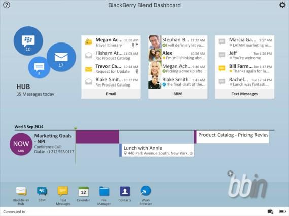 BlackBerry Blend aún no se ha anunciado oficialmente o incluso comentado por BlackBerry. se espera que aparezca en mayor escala en BlackBerry OS 10.3 y que este disponible finalmente con el lanzamiento de BlackBerry Passport. Una nueva filtración de BBIN muestra el software con algunas pequeñas demostraciones y lo más interesante también ofrece algunos detalles como los requisitos del sistema que tendrá quecumplir para poder hacer uso del software. Con Blend BlackBerry usted puede: Ver y responder a algunos mensajes y chats de diferentes cuentas en el BlackBerry Hub. Acceder a tus chats de BBM, grupos y canales de BBM.